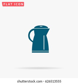Electric kettle. Flat simple Blue pictogram on white background. Illustration symbol with shadow