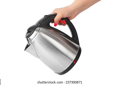 Electric kettle in hand isolated on white background