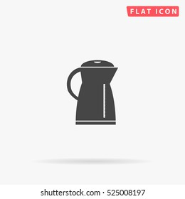 Electric kettle Icon Illustration. Flat simple grey symbol on white background with shadow