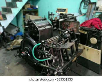 electric letterpress machine in printing factory