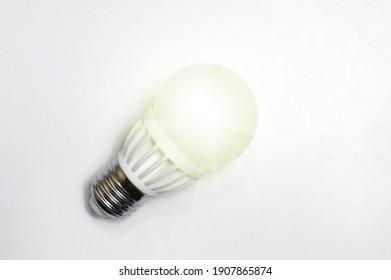 Electric light bulb on white background. LED lamp