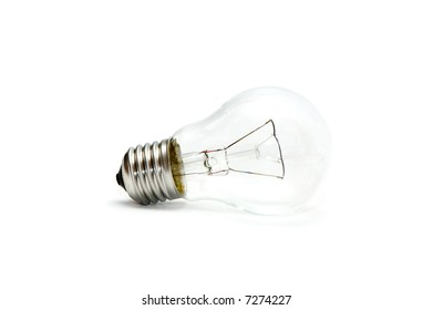 electric light bulb on white background