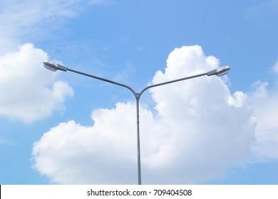 electric light pole with brightness sky