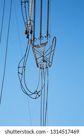 Electric line cables hanging broken
