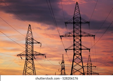 An electric line at sunset time