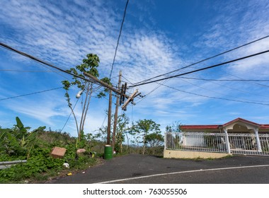 Electric Lines In Puerto Rico after Hurricane Maria