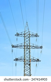 Electric lines pylon on blue sky background