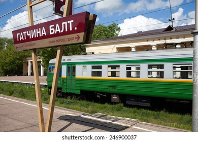 Electric local train at the platform in rural areas