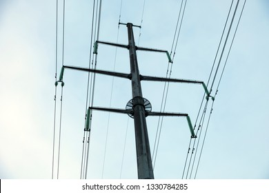 electric main with many wires in the sky