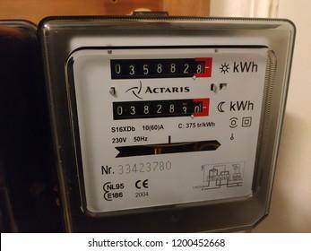 Electric meter. Belgium, Brussels 8/10/2018