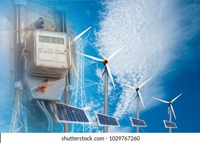 Electric meter, dashboard, electric control system Solar Wind Turbine Solar Power