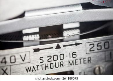 Electric meter dial close-up