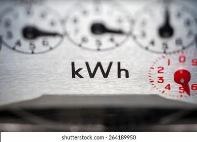 Electric meter dials close-up