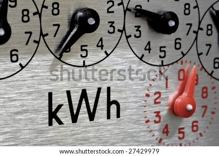 Electric Meter dials Close-Up