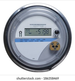 Electric Meter Front View with Copy Space Isolated on White Background.