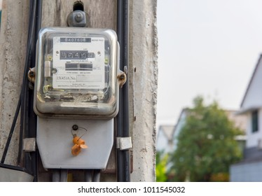 Electric meter on white background Bokeh technology Financial