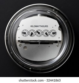 Electric meter shot straight on with dark background