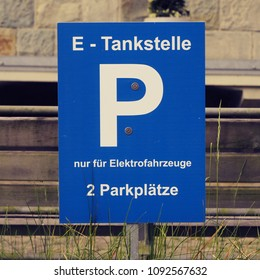 Electric mobility charging point, German parking sign, zero emission driving