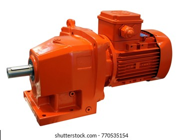 Electric motor with reduction gear isolated on white background. Image with local focusing