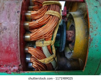 Electric motor rotor ,Stator copper coil in motor,Electric motor with winding coil ,selective focus