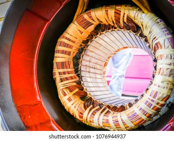Electric motor stator with winding coil , view of inside of electric induction motor