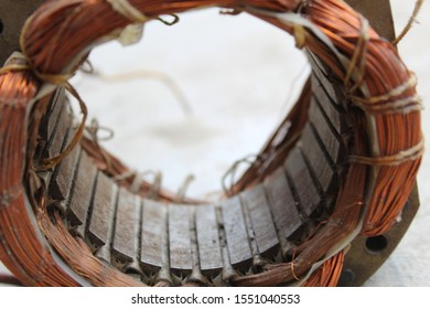 Electric motor stator winding of copper wire. Blurred background.