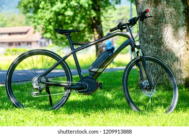 an electric mountain bike on the grass