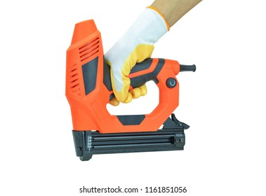 Electric nail gun isolated on a white background.
