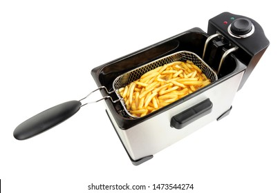Electric oil fryer appliance frying French fries isolated on a white background