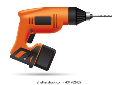 Electric orange cordless  drill isolated on white. Tool icon. 3D illustration