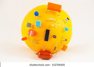 Electric orange with electronic components