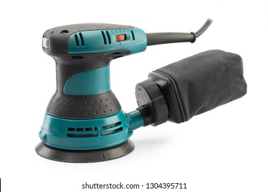 electric orbital sander isolated on white background