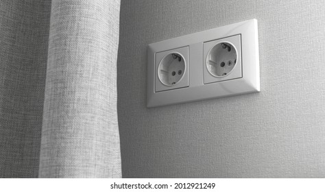 Electric outlet in modern room design, home interior banner background, EU type F standart photo