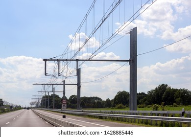 Electric overhead contact wire for hybrid trucks on E-Highway, test track in Luebeck, Germany