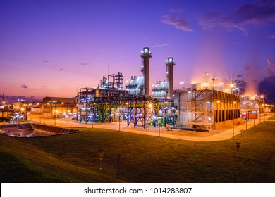 Electric plants turbine generator in the power plant during with twilight time