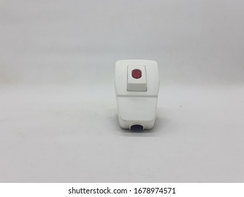 Electric Plug Sockets with Power Switch for Electronic Devices in White Isolated Background