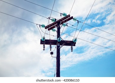 electric pole in blue sky