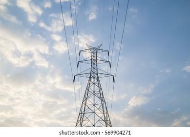electric pole with cloud sky