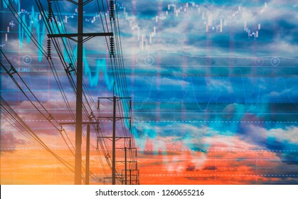 Electric pole, and colorful sky stock chart as background. With the concept of volatility of stocks and energy businesses in the global market.