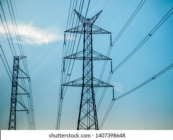 Electric pole and high voltage cable from power plant.