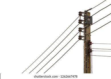 Electric pole isolated on white background. Electric pole connect to the high voltage electric wires. Electricity equipment with copy space. Close-up power lines. Electricity industry and Wires.