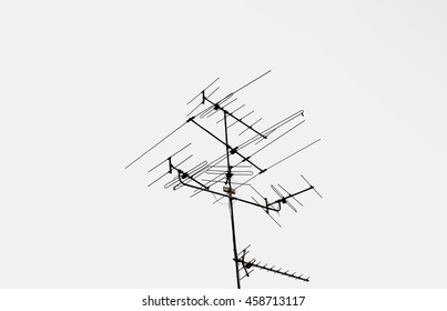 Electric pole on white background.