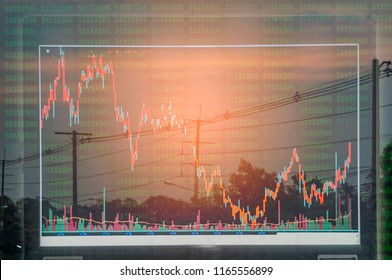 Electric pole, and sky stock chart as background. With the concept of volatility of stocks and energy businesses in the global market.