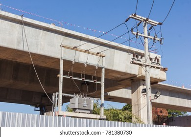electric pole and electric transformer with railway overpass