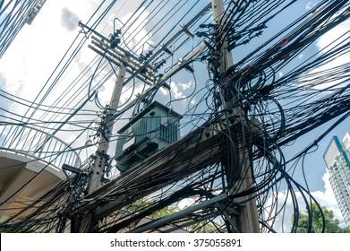 Electric pole / Transformers and power lines very messy