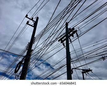 Electric pole and wires Landscape