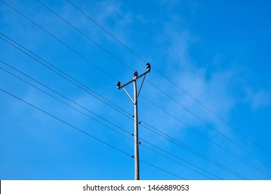 Electric pole and wires, wood electricty pole and cloudy blue sky