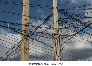 Electric poles and wires in Cambodia street