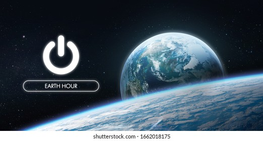 Electric power button near Earth planet. Earth hour event. Protection of environment. Elements of this image furnished by NASA