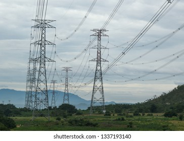 electric power cable line towers in field